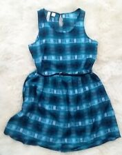 Blue plaid Route 66 summer dress with black belt cool light weight size small