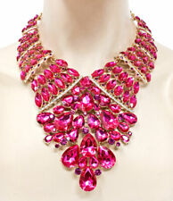 Luxurious Statement Evening Necklace Earring Fuchsia Pink Rhinestone Drag Queen