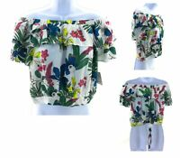Passport Off The Shoulder Junior's Top White with Hawaiian Floral Short Sleeve