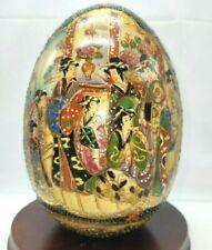 Satsuma Egg Geisha Girl Motif Hand-Painted Moriage Porcelain Chinese Wood Base