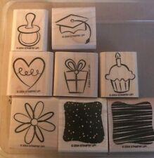 Stampin Up 2004 Two Step Little Layers Plus 8 Wood Mounted Rubber Stamps Su