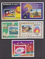 UPPER VOLTA / BURKINA FASO 5 Souvenir Sheets MOON BUGGY, LOCOMOTIVE, VIKING more