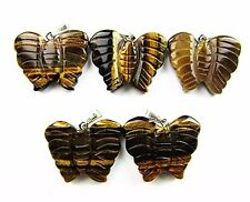 5PCS Wholesale brown tiger eye gemstone carved butterfly pendant bead Vk4655