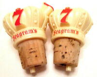 Two Vintage Seagram's 7 Plastic Liquor Bottle Pourers Cork Stoppers - Quart Size