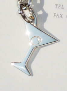 Tiffany & Co Sterling Silver Detachable Martini Glass Charm on a Bolt Ring ONLY