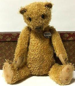 "Lori Ann Baker 13"" Brown Mohair Teddy Bear Roosevelt Pin With Box"