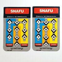 Lot of 2 Vintage 1981 Mattel Snafu Intellivision Controller Overlays