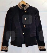 ZARA Passementrie Moleskin Velvet Blazer Black Gold Embroidery Sz XS