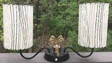 Vtg 50s Articulating Lamp Fiberglass Shades Retro Mid Century Modern Lighting
