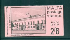 Malta 1970 2s6d Magisterial Palace ( SG 331,333 in blocks of 6 ) Booklet SB2