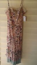 Charlotte Russe~Ivory, Rose & Blue Floral Print Rayon Dress~Size: L (M)~N/W/T