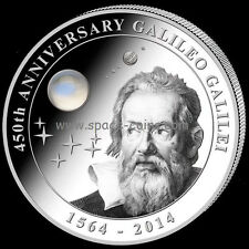 GALILEO GALILEI 450 Anniversary, 2 oz silver, 10$ Cook Island, 2014, Moonstone