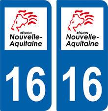2 autocollants style immatriculation auto Département 16 NOUVELLE AQUITAINE