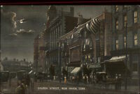 New Haven CT Church Street at Night c1910 Postcard