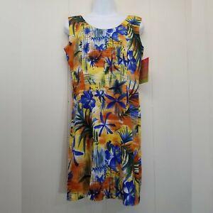 Jams World S Dress Sunset Tropical Floral Hawaii Rayon Orange Blue Sleeveless