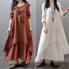 1PC Women Boho Bohemia Irregular Loose Long Sleeve Cotton Linen Maxi Dress S-5XL