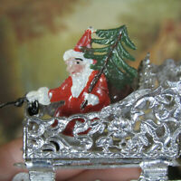 Antique SOFT METAL SANTA CLAUS REINDEER Victorian Vtg Christmas Dollhouse Toy