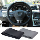 Black DIY PU Leather Car Steering Wheel Cover Protector 35cm & Needle Thread