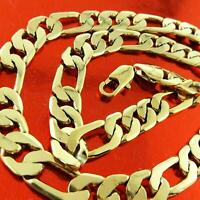Necklace Chain 18k Yellow G/F Gold Solid Mens Classic Italian Figaro Link Design