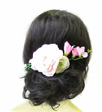 Blush Light Pink White Camellia Rose Flower Hair Comb Bridal Bridesmaid Vtg 1665