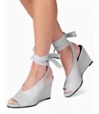 New🌹Next🌹Size 3.5 White Suede Leather Wedge Shoes Sandals Tie Lace Up Strap 36