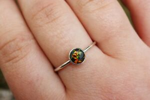 Black Opal Ring 925 Simple Stacking Ring Handmade ANY SIZE