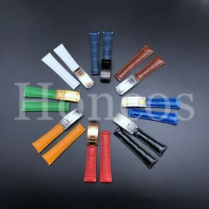 20MM Leather Alligator Strap Band Deployment Buckle Clasp fits for Rolex Daytona