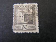 ANDORRA, SPANISH ADMINISTRATION, SCO # 19, 30c. VALUE OLIVE BROWN 1929 ISS USED