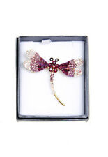 Luxury Diamante Dragonfly Purple Brooch