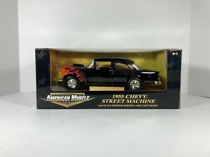 1/18 American Muscle Ertl 1955 Chevy Street Machine Black w/ Flames Limited