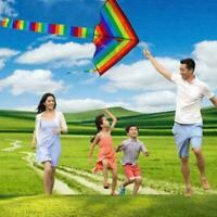 Colorful Rainbow Kite Long Tail Nylon Outdoor Childrens Flying Park T7Y Q1P8