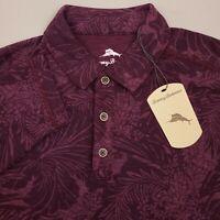 Tommy Bahama Long Sleeve Hawaiian Polo Shirt Men Medium Floral Grape Wine Purple