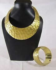 Discount Mother's day FASHION JEWEL LOOK GOLD CHOKER NECKLACE & BANGLE BRACELET