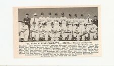 El Paso Alpine Cowboys New Mexico 1952 Baseball Team Picture