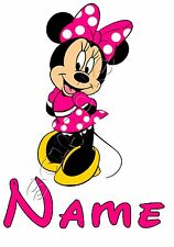 IRON ON TRANSFER PERSONALISED CUTE PINK MINNIE MOUSE(with any name) 9x14cm