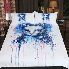 Cat Bedding Set Watercolor Duvet Cover With Pillowcases Space by Pixie Cold Art