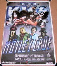 KISS MOTLEY CRUE CONCERT POSTER SATURDAY 29th SEPTEMBER 2012 FORO SOL MEXICO