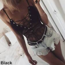 Womens Lace UP Bodysuit Strappy Plunge V Neck Full Lace Bodycon Tops Lingerie
