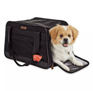 "(New) Reddy Black Cotton Canvas Travel Pet Carrier, 17"" x 10.75"" x 10.75"""
