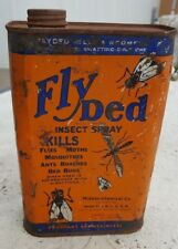 Antique Fly Ded Tin Can Orange Blue, Midway Chemicals Jersey City, N.J., U.S.A.