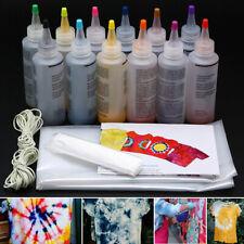 12pcs/set One Step Tie Dye Kit Vibrant Fabric Textile Permanent Paint Tool D @sh