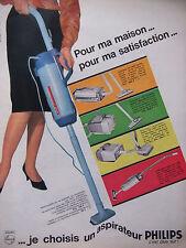 PUBLICITÉ DE PRESSE 1964 ASPIRATEUR BALAI PHILIPS POUR MA MAISON - ADVERTISING