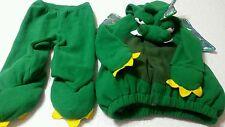 Old Navy Dinosaur Dragon Costume 12-24M Green Fleece 2pc Shiny Wings Spikes JCH1
