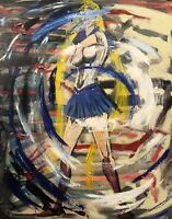 """Beautiful Abstract , """"Sailor Moon"""", Original Painting Stretched Canvas  Art Oils"""