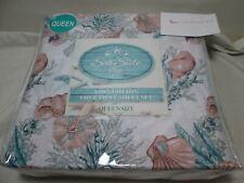 New Sea Side Inn Queen Sheet Set Sea Coral and Sea Shells ~ Aqua, Mauve & Gray