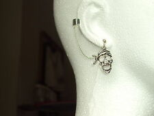 Pirate Skull-  Ear Cuff Clip Chain Dangle Piercing  *UK MADE * - *FREE POST*