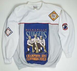 VTG 80s Adidas Hicksville Sluggers 1897 Baseball Trefoil Sweatshirt Shirt Large
