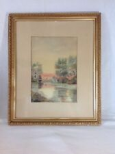 Antique Watercolor Painting Fisherman Old Mill Landscape L. Bowersox 1909 Orig.