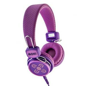 Moki Kids Safe Headphones Pink-Purple Volume Limited to 89dB Gaming Music