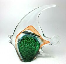 """Hand Blown Murano Glass Angel Fish Figurine Art, 7"""" x 6.5"""""""
